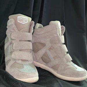 Skechers SKCH +3 Leather/Suede Hightop Heels